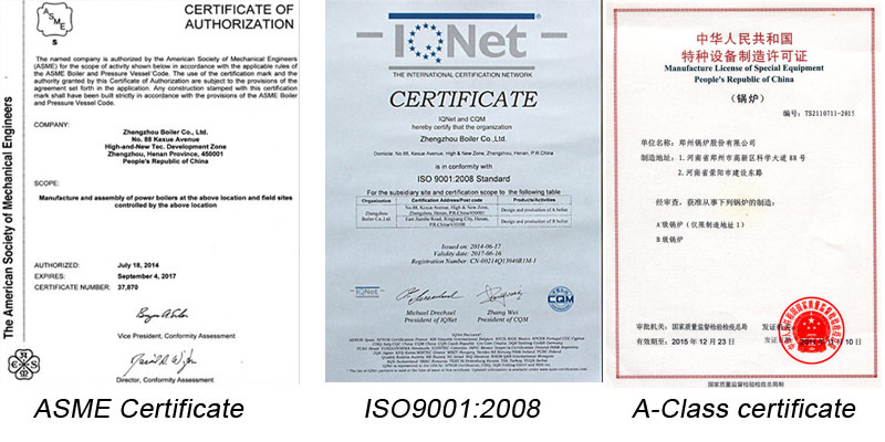 certifactes of steam boilers