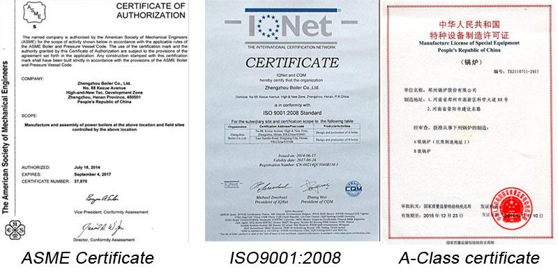 certifactes of steam boilers